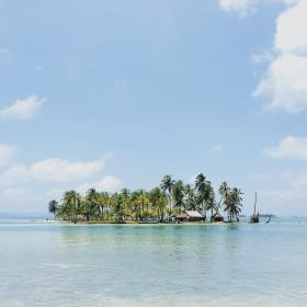 trees, ocean, sea, water, island, coconut, sky, clouds, vacation, adventure, travel, trip, nature, hut