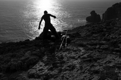 fisherman, fishing, beach, sand, water, shadow, silhouette, black and white