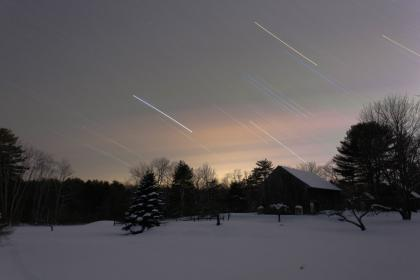nature, landscape, shooting star, snow, winter, cold, weather, trees, house, sunset, dark