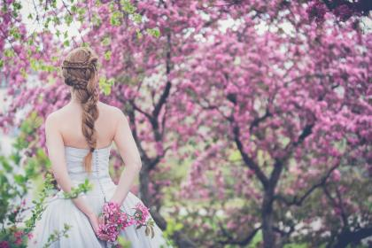 trees, plant, flower, nature, outdoor, people, girl, back, wedding, gown, bride, braid, hairstyle