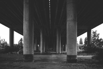 architecture, structures, bridges, posts, lines, shapes, patterns, perspective, black and white