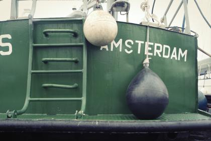 fishing, boat, amsterdam, green, buoys, ladder, dock, harbor, rope
