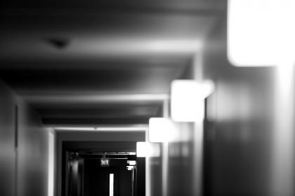 hallway, corridor, lights, exit, sortie, door, black and white, walls