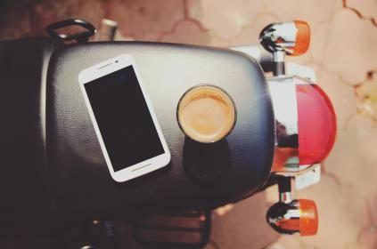 mobile, phone, ipad, tablet, gadget, touchscreen, modern, electronic, technology, communication, coffee, drink, motorcycle, ride, travel
