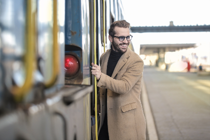 man,  entering,  train,  business,  smile,  glasses,  beard,  transport,  station,  platform,  male,  people