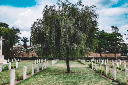 nature, landscape, trees, green, cemetery, clouds, sky, death, grass, tomb
