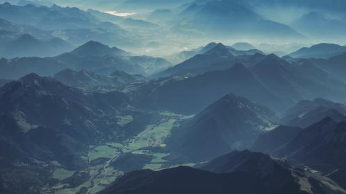 nature, mountain, valley, landscape, hill, clouds, fog, sky, clouds, sky