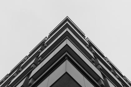 skyscraper, building, window, sky, structure, architecture, infrastructure, angle, black and white