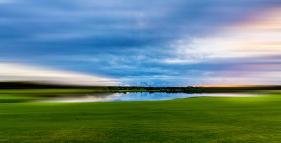 green, grass, lawn, field, nature, outdoor, view, travel, lake, water, blue, cloud, sky, reflection