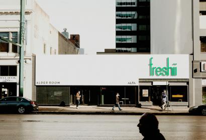 places, city, people, walking, restaurant, freshii