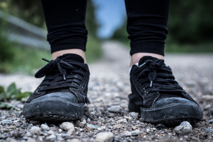 black,  sneakers,  shoes,  girl,  female,  stones,  ground,  close up,  fashion