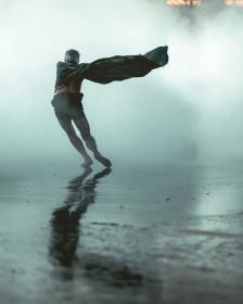 people, man, run, rain, fog, water, dancing
