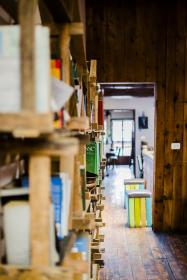 library, shelves, books, wood, panels, hallway, corridor, still, bokeh