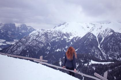 mountain, highland, cloud, sky, summit, ridge, landscape, nature, valley, hill, snow, winter, view, travel, trees, plants, peak, people, girl, woman, alone