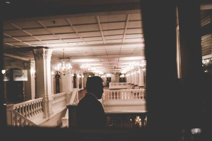 silhouette, stairs, house, man, guy, terrace, post, chandeliers, lights