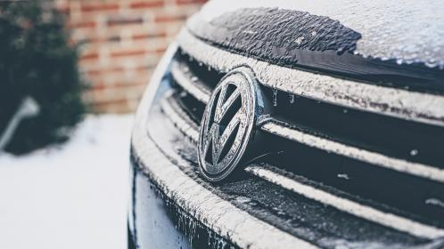 volkswagon, vw, car, snow, winter, ice, cold, blue, grille