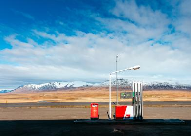 gas, station, lamp, post, clouds, sky, summer, road, travel, adventure, mountain, field, empty