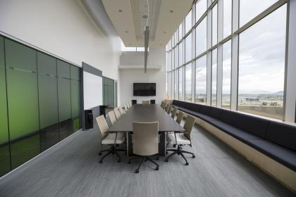table, chairs, room, windows, glass, architecture, building, establishment, office, interior, television, ceiling, meeting, business, office