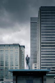 places, urban, city, people, man, buildings, guy, jump