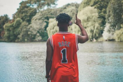 people, red, jersey, basketball, player, one, nature, lake, water, trees, plant, outdoor, blur, black, african american