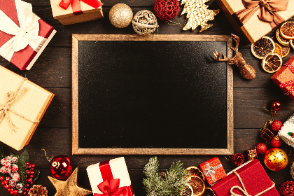 gift,   box,   Christmas,   present,   celebration,   holiday,   seasonal,   background,   wooden,   old,   table,   abstract,   top,   view,   flat,   lay,   open,   closed,   ribbon,   wrapping,   black,   board,   blackboard,   chalkboard,   copyspace,   frame