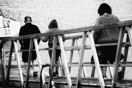 people, man, women, lady, girl, fat, bridge, water, wood, wooden, sea, travel, trip, vacation, boat, yacht, transportation, adventure, black and white