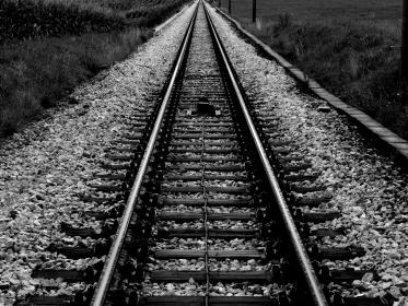 train tracks, railroad, railway, transportation, black and white