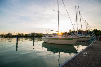 still, items, things, yachts, boats, dock, pier, concrete, water, ocean, sea, sky, clouds, clouds