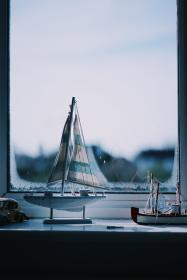 still, items, things, miniature, scale, model, ship, sail, display, collection, window, pane, view, bokeh