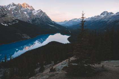 lake, blue, water, outdoor, nature, landscape, mountain, trees, plant, coast, highland, view