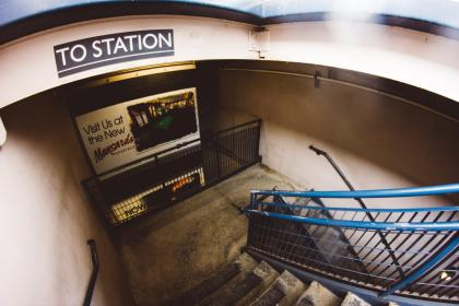 architecture, building, infrastructure, stairs, stairway, advertising