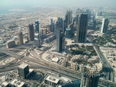 city, aerial, view, buildings, architecture, skyscrapers, towers, high rises, urban, roads, highways
