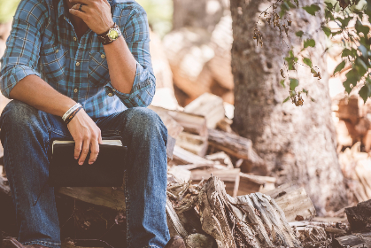 man,   reading,   jeans,   cotton,   shirt,   watch,   book,   bible,   forest,   wood,   sitting,   tree
