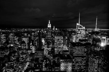 new york, city, dark, night, lights, usa, united states, buildings, towers, skyscrapers, rooftops, skyline, evening