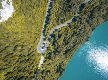 lake, blue, water, green, trees, plants, landscape, mountain, highland, road, travel, view, green, nature, aerial, view