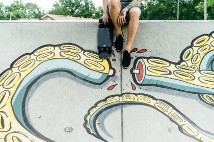 wall, graffiti, painting, man, people, guy, skateboard, shoes, octopus, tattoo