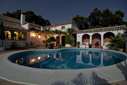 pool, backyard, villa, house, arches, roof, rich, stars, night, chairs, shingles
