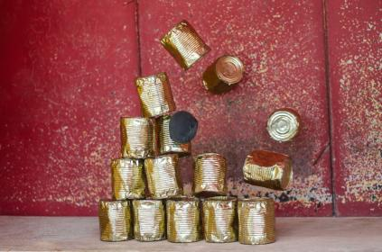 tin cans, objects, falling