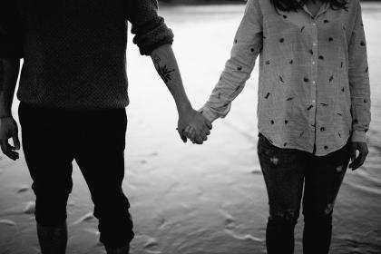 people, couple, man, woman, love, romance, holding, hands, tattoo, black and white, monochrome, grayscale