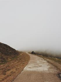 fog, path, dirt, gravel