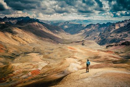 nature, dry, land, mountains, sky, clouds, people, man, guy, traveler