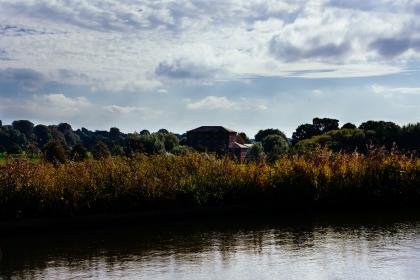 canal, river, water, bushes, trees, country, house, sky, clouds