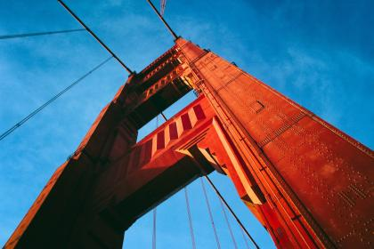 golden gate bridge, architecture, metal, steel, red, blue, san francisco, sky