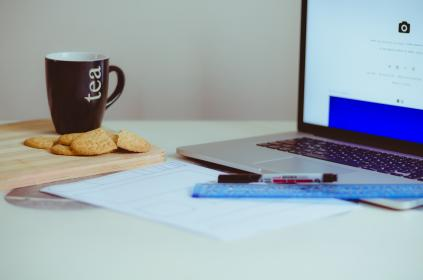 laptop, apple, keyboard, technology, mac, application, software, hardware, work, office, cookies, tea, hot, mug, cup