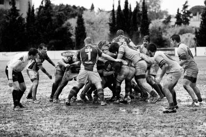 black and white, people, men, outdoor, nature, field, sport, game, tournament, mud, grass, ball