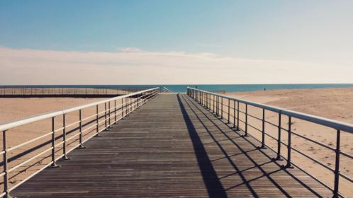 blue, sky, clouds, sunny, summer, beach, sand, wood, planks, boardwalk, railing, water, ocean
