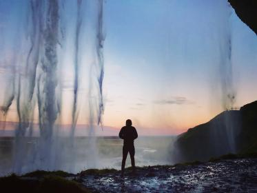 waterfall, sky, hill, mountain, highland, landscape, nature, people, man, alone, silhouette, sunset