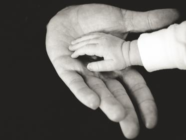 hands, baby, child, family, parent, black and white