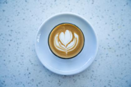 coffee, cafe, latte, cappuccino, flower, froth, plate