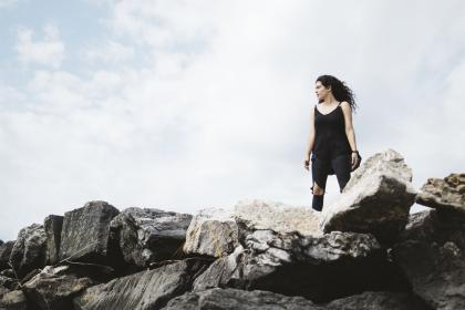 people, woman, black, fashion, strong, independent, rocks, stone, clouds, sky, alone, travel, adventure
